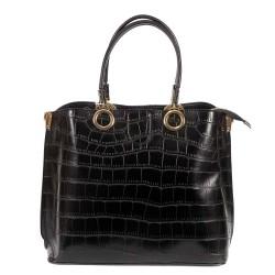 Елегантна чанта от еко кожа черно кроко и златни елементи-999