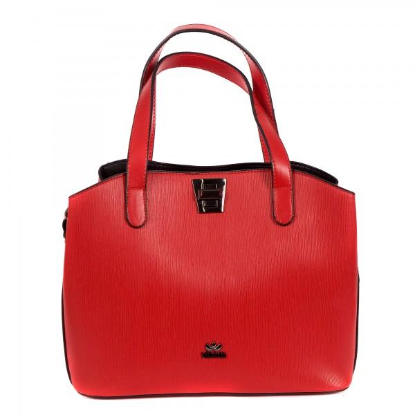 Червена дамска чанта от еко кожа с модерен дизайн-969