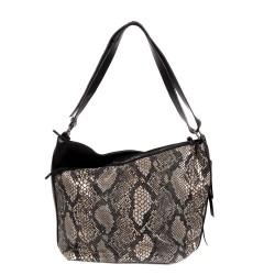 Елегантна дамска чанта от еко кожа черна със змийски принт-0976