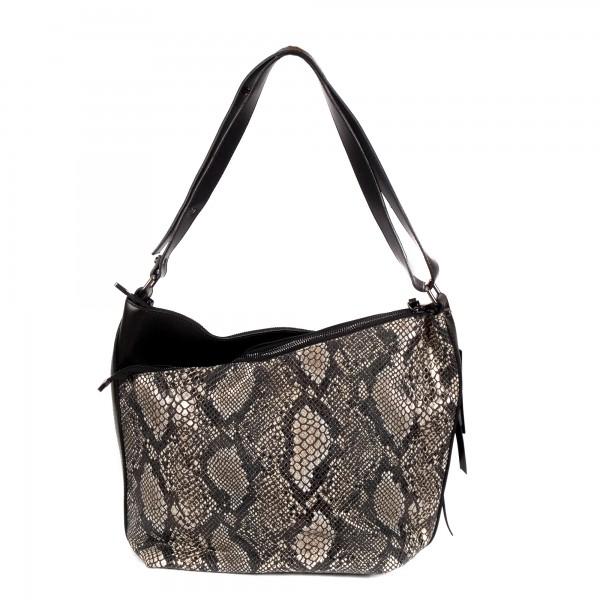 Елегантна дамска чанта от еко кожа черна със змийски принт-976