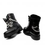 Есенно-зимни дамски черни боти от естествена кожа със синджир-1026