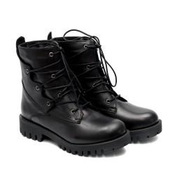 Черни ежедневни топли боти от естествена кожа с грайферно ходило-1061