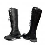 Черни ботуши от естествена кожа с цип и връзки- 1063