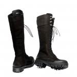 Черни дамски ботуши от естествен набук с връзки и цип-1064