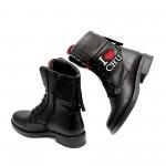 Черни дамски боти тип кубинки от естествена кожа с цветна бродерия-1059