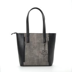 Дамска голяма дамска чанта от еко кожа в черно и сив принт-94