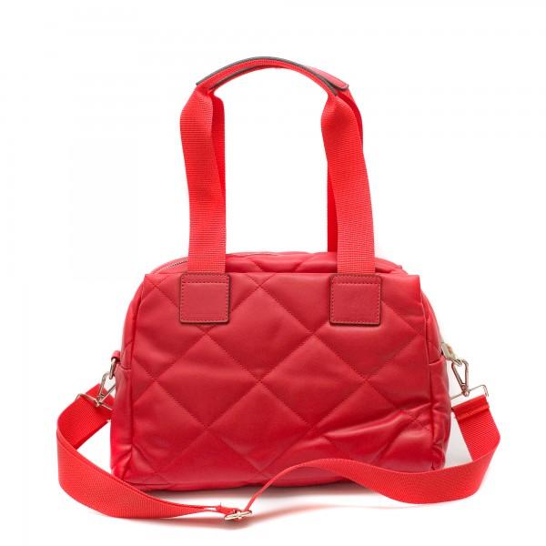Червена ежедневна дамска чанта от еко кожа с дълги дръжки-3-1514