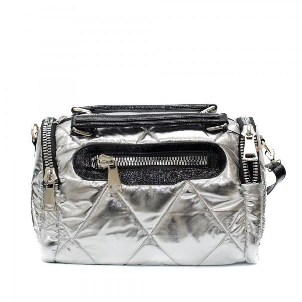 Дамско спортно-елегантно куфарче в комбинация от лак и плат в сив цвят-1515