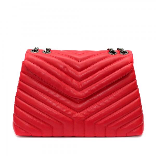 Червена ежедневна дамска чанта от еко кожа с дълги дръжки-1-1512