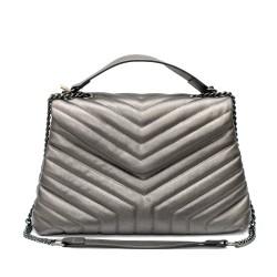 Сива елегантна дамска чанта с метални елементи-1512