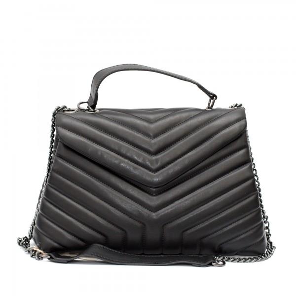 Дамска черна елегантна чанта от еко кожа с дълги метални дръжки-1512