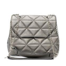 Луксозна дамска чанта от еко кожа в сив цвят-3-1510