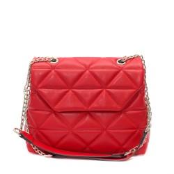 Червена луксозна дамска чанта, изработена от еко кожа с дълги дръжки-4-1510