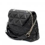 Луксозна дамска чанта от еко кожа в черен цвят с удобни дръжки-1510