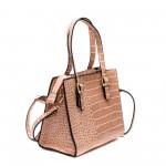 Дамска малка кокетна чанта от еко кожа в розов цвят-1509