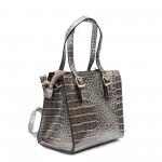 Дамска сива малка кокетна чанта с дълга дръжка-1-1509
