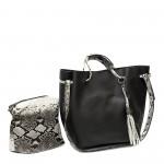 Черна ежедневна дамска чанта от еко кожа с метални елементи-1-958