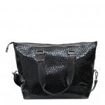 Голяма дамска чанта от еко лак в черен цвят с дълги дръжки-1517