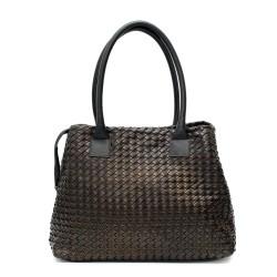 Ежедневна дамска чанта от еко кожа в черен цвят и метален блясък-1511