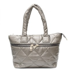 Дамска спортно-елегантна чанта в сив цвят с ефектни ципове -1-1519