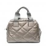 Сива спортна дамска чанта от еко кожа с дълги дръжки-1514