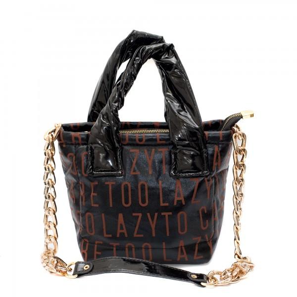Малка дамска чанта от промазан плат с акцент лак и ефектна щампа-1521