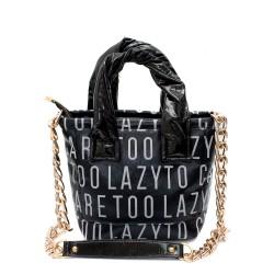 Ефектна промазана дамска чанта от еко кожа с метални елементи и букви-1521