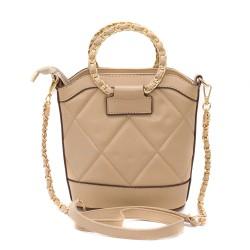 Дамска малка кокетна чанта с две основни кръгли дръжки в бежов цвят от еко кожа-1524