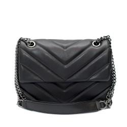 Черна малка дамска чанта от еко кожа с метална дълга дръжка-1-1523