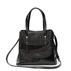 Официална лачена дамска чанта от еко лак с златисти елементи-1-1513