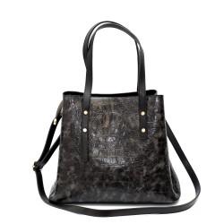 Официална дамска чанта от еко кожа в черен цвят и сив акцент-1513