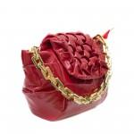Артистична лачена червена дамска чанта от еко лак с модерн набор в горната част-4-1520