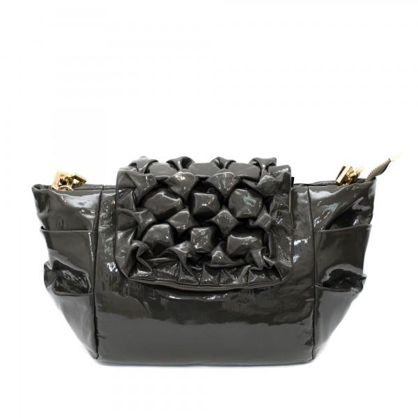 Маслено зелена дамска чанта от еко лак с набрана ефектна кожа-1520