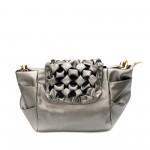 Кожена ефектна дамска чанта в сив цвят и къдрав капак от еко кожа-1-1520