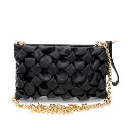 Мини черна кокетна чанта от еко кожа с набрани кожни елементи-1-1508