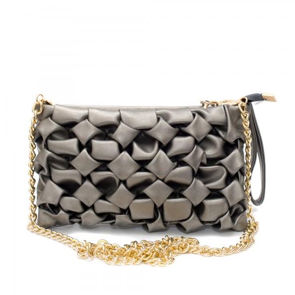 Сива малка дамска чанта от еко кожа с набрани елементи и метална дръжка-1508