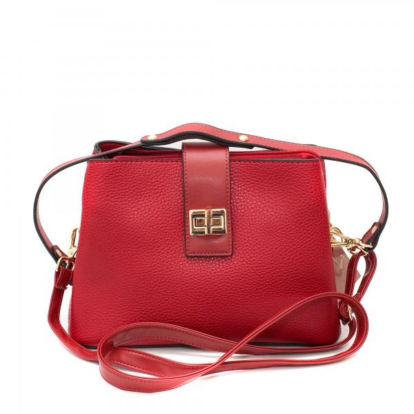 Червена ежедневна дамска чанта от еко кожа с дълги дръжки и златни елементи-3-971