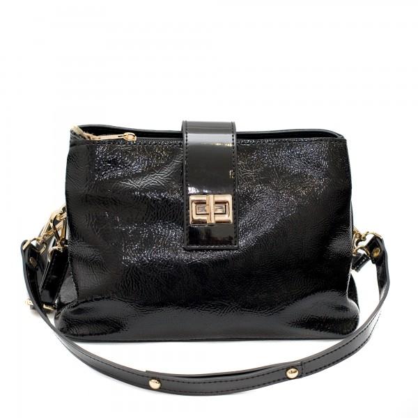 Лачена елеганта малка дамска чанта от еко кожа с ефектно закопчаване-2-971