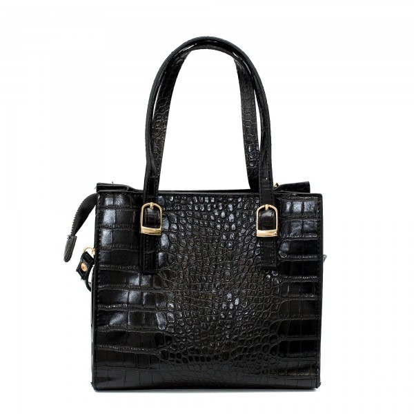 Официална дамска чанта от еко кожа в черен цвят кроко и златни елементи-5-1509