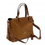 Елеганта дамска чанта от еко велур в кафяв цвят и златни елементи-1522