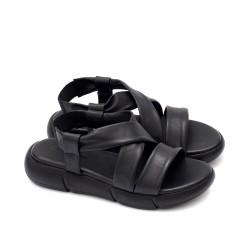 Дамски черни сандали от естествена кожа с ластик и каишки-1657
