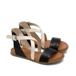 Дамски ежедневни сандали от висококачествена естествена кожа в комбинация от черно и бежово на удобно равно ходило-1664