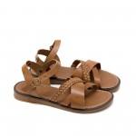Кафяви ежедневни дамски сандали от естествена кожа с равно и удобно ходило-873