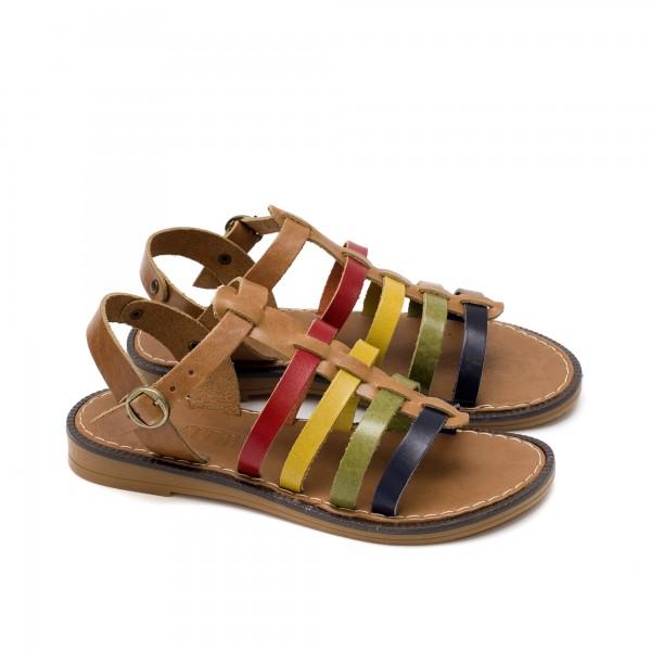 Многоцветни дамски сандали от естествена кожа с ефектни каишки и равно ходило-877