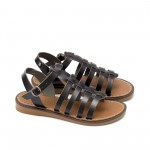 Дамски ежедневни сандали от черна естествена кожа с много каишки-876