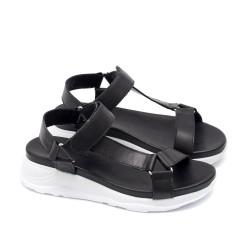 Дамски сандали с модерен дизайн от естествена черна кожа и бяло ходило с лека платформа-1666