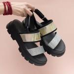 Иновативни дамски сандали от естествена кожа в злато, сребро и черно с преливащ ефект и модерно ходило-1668