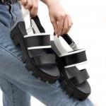 Дамски сандали от естествена кожа в черно и бяло-1669