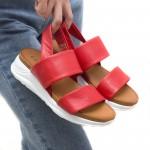 Дамски ежедневни сандали от естествена кожа в червен цвят, бяло ходило и ластик-1663