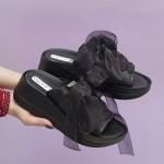 Модерни дамски чехли от естествена кожа с декорация тюлена панделка-881